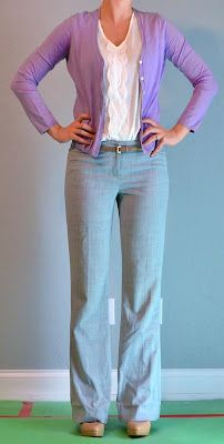 Outfit Posts: purple cardigan, grey pants, gold belt (Like: Lavender cardigan, ruffle shirt)