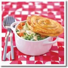 Chicken Pot Pie divided into Le Creuset Minis