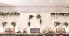Entire look of our Wedding Mainstage yesterday ✨! comment bellow if you want to see for upcoming details. Happy Sunday and keep fresh Wedding Backdrop Design, Wedding Stage Design, Rustic Wedding Backdrops, Wedding Reception Backdrop, Backdrop Decor, Indoor Wedding Decorations, Decor Wedding, Wedding Blog, Javanese Wedding