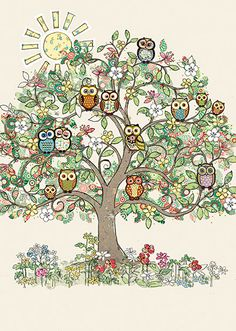 Sunny Owl Tree - Bug Art greeting card