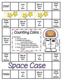 counting coins printable game-- several money games Second Grade Math, First Grade Classroom, Math Classroom, Kindergarten Math, Grade 2, Third Grade, Classroom Ideas, Fun Math, Math Games