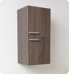 "12.5"" Fresca (FST8091GO) Gray Oak Bathroom Linen Side Cabinet w/ 2 Storage Areas #Fresca #HomeRemodel #BathroomRemodel #BlondyBathHome # SideCabinets"