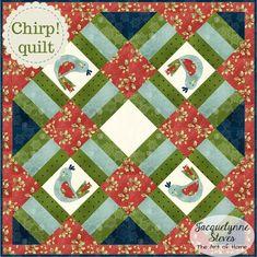 Chirp! Mini Quilt Pattern - quick Mini Quilt Patterns, Mug Rug Patterns, Embroidery Patterns, Quilting Tutorials, Quilting Projects, Sewing Projects, Quilting Ideas, Bird Quilt, Quilt Labels