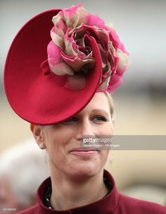 Zara Tindall during Ladies Day of the 2018 Cheltenham Festival at Cheltenham Racecourse. (Photo by Steven Paston/PA Images via Getty Images) Royal Crowns, Royal Tiaras, Fascinator Hats, Fascinators, Zara Hats, Mother Of The Bride Hats, Zara Phillips, Hm The Queen, Isabel Ii