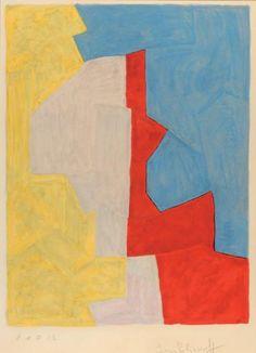 Serge POLIAKOFF (1900-1969) Composition, bleue, jaune, grise et rouge 1966 Lit