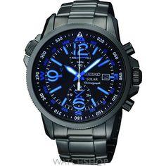 Men's Seiko Alarm Chronograph Solar Powered Watch