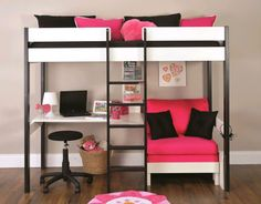 Uno 5 Nero High Sleeper with Desk + Pullout Chairbed (choice of cushion colours available)