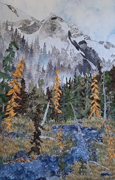 Fabric collage, machine stitched, mounted on canvas. Designed and created by Chris Allaway 24x36 Collage, Mountains, Canvas, Nature, Fabric, Travel, Design, Art, Tela