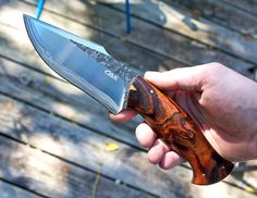 """Knife from Claudio Sobral of CAS Knivesowned by Shawn Hatcher.  Steel: San mai 420/1095 - .225"""" at ricasso OAL: 9.5"""" Blade: 4.75"""" Weight: 10.2 oz Scales: Desert Ironwood"""