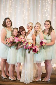 Mint gold and pink barn wedding near Salem, Oregon. Mint bridesmaids twinkle light backdrop