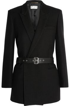 Saint Laurent|Belted double-breasted wool-twill blazer|NET-A-PORTER.COM