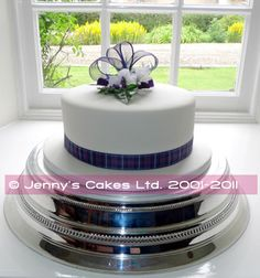 Gretna Wedding Cake- Single tier Round Cake with Silk Topper and Tartan ribbons.