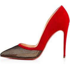 Miluna fishnet ($790) ❤ liked on Polyvore featuring shoes, pumps, embellished shoes, pointy-toe pumps, red sole shoes, pointy toe shoes and sexy pumps