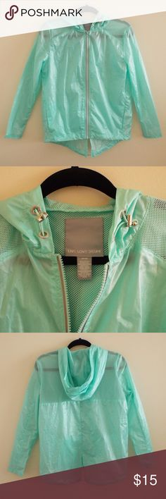 Aeropostale Aqua Blue Windbreaker Rain Jacket Beautiful NEVER WORN lightweight aqua blue jacket. Perfect for rainy weather and for chilly days. Futuristic feel.  100% polyester. (Hanger not included) Aeropostale Jackets & Coats