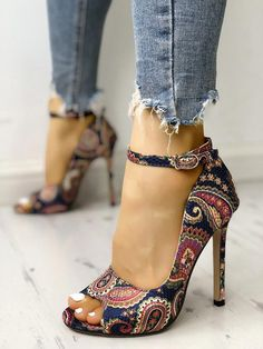 adb758db54d Ethnic Print Peep Toe Ankle Strap Thin Heeled Sandals  womensfashionshoes  Heeled Sandals