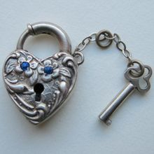Sterling Puffy Heart Padlock Clasp with Blue Stones