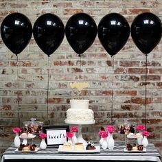 Ejemplo de candy bar en negro, blanco y rosa