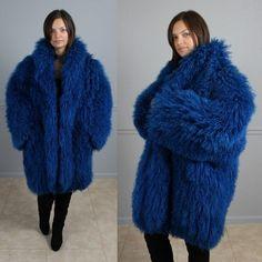 Boho Shaggy TIBETAN Lamb White FUR COAT Mongolian long hair Winter ...
