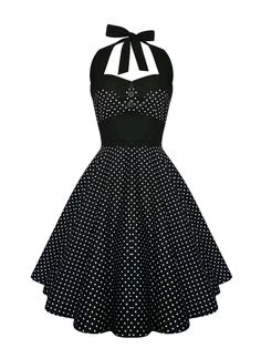 Rockabilly Dress Black Polka Dot Halter Pin Up Vintage 1950s Retro Gothic Lolita Steampunk Swing Halloween Prom Party Plus Size Clothing by LadyMayraClothing on Etsy https://www.etsy.com/listing/207124786/rockabilly-dress-black-polka-dot-halter