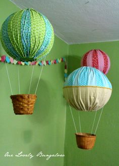 hot air balloons decor   found the idea of using paper lanterns for the