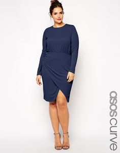 ASOS CURVE Ruched Wrap Dress in Jersey Crepe