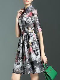 Printed Pleated Mini Dress with Belt