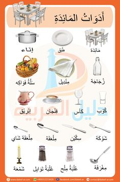 Course: Miscellaneous topics , Section: Tableware in Arabic Arabic Alphabet Letters, Arabic Alphabet For Kids, Arabic Conversation, Arabic Handwriting, Arabic Verbs, Spoken Arabic, Kindergarten Reading Activities, Learn Arabic Online, Arabic Lessons