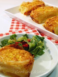 Ρολό τυρόπιτας / Cheese pie roll - Cooking & Art by Marion Cheese Pies, Baked Potato, Macaroni And Cheese, Rolls, Chicken, Meat, Baking, Ethnic Recipes, Food