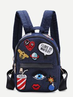 SheIn offers Dark Blue Zip Front Cartoon Patch Mini Backpack & more to fit your fashionable needs. Backpack With Pins, Mini Backpack, Backpack Bags, Backpack Online, Mochila Jeans, Mochila Adidas, Fashion Bags, Fashion Backpack, Back Bag