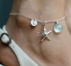 Sterling silver ANKLET Custom Initial & Birthstone by BriguysGirls, $39.50