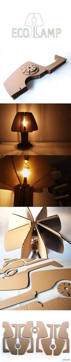 Eco lamp - laser cut cardboard light