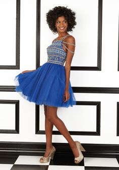 Beaded Tulle Prom Dress Designed by Madeline Gardner. Zipper Back. Colors Available: Royal, Hot Pink