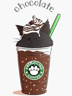 """Chocolate CATpuccino"" Sticker by amcart   Redbubble Cute Food Drawings, Cute Animal Drawings Kawaii, Cute Disney Drawings, Cute Wallpaper For Phone, Cat Wallpaper, Kawaii Wallpaper, Griffonnages Kawaii, Milk Shakes, Funny Wallpapers"