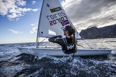 Awesome dinghy sailing. Cool girl. Photo by Trond Teigen