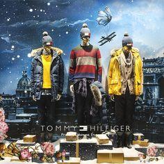 """CONTE DE PRINTEMPS À NOËL, Paris,France, """"Tommy Hilfiger for Printemps Homme"""", (Illustration Laurent Sanguinetti ), pinned by Ton van der Veer"""