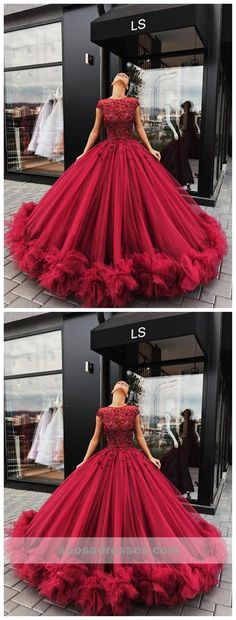 Cheap Prom Dresses UK,Buy Red Tulle Appliques Ball Gown Round Neck Prom Dress,Sweet 16 Dresses,Quinceanera Dresses on Shmilyprom Lace Ball Gowns, Ball Gowns Prom, Ball Dresses, Bridal Dresses, 15 Dresses, Pageant Dresses, Cheap Prom Dresses Uk, Prom Dresses With Sleeves, Tulle Prom Dress
