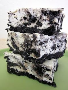 Cookies and Cream Cheesecake Bars   CRUST:  1 (1 pound) package Oreo cookies   4 Tablespoons unsalted butter, melted     FILLING:  3 (8 ounce) packages cream cheese, at room temperature  (I used low fat!)  3/4 cup granulated white sugar   3/4 cup sour cream, at room temperature   1 teaspoon vanilla extract   1/2 teaspoon salt   3 large eggs, at room temperature