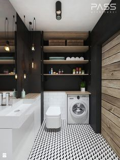 Badezimmer von pass architekci Find industrial bathroom designs by PASS architekci. Discover the most beautiful pictures for inspiration for the design of your dream home. Industrial Bathroom Design, Industrial House, Industrial Interiors, Bathroom Interior, Interior Design Living Room, Living Room Designs, Industrial Style, Industrial Closet, Industrial Bookshelf