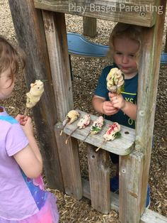 playing with nature and playdough outdoors
