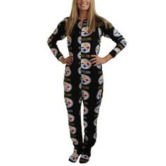 Pittsburgh Steelers Highlight Ladies Microfleece Union Suit - Black LARGE