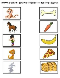 Match the Animals to the Food They Eat! by Early Childhood Resource Center Preschool Activity Books, Kindergarten Science Activities, Animal Activities For Kids, Fluency Activities, Kindergarten Lessons, Preschool Learning Activities, Preschool Themes, Preschool Worksheets, Infant Activities