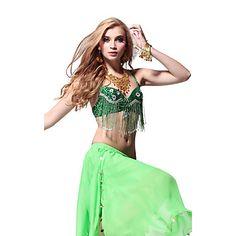 Desempenho lantejoulas Dancewear e Crystal com borlas Top Dança do Ventre para senhoras mais cores – BRL R$ 60,17