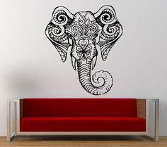 Ganesh Elephant Mandala Yoga Om Namaste Head Wall Graphic Decal Sticker Vinyl Mural Leaving Bedroom Room Home Decor FREE SHIPPING L275