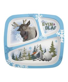 Look what I found on #zulily! Frozen Olaf Three-Section Plate by Frozen #zulilyfinds
