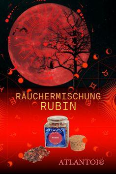 Der Rubin bringt mit seiner roten Farbe Energie und Lebenskraft. Gleichzeitig steht Rot für Willensstärke, die Verwirklichung von Wünschen und für die leidenschaftliche Liebe. Die sinnlich-würzige Räuchermischung aus Sternanis, Weihrauch, Rosenblüten, ... #Magie, #magisch, #Räuchermischung, #Räuchermischung Rubin, #Edelstein Rubin, #Rubin, #Lebenskraft, #Wünsche, #Liebe Atlantis, Movie Posters, Art, Passionate Love, Incense, Red Color, Spiritual, Rhinestones, Products