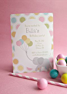 Elephant and Balloons Invitation  Personalized by yummypaper, $15.00