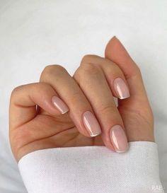 Frensh Nails, Chic Nails, Stylish Nails, Hair And Nails, Nail Manicure, Manicure Ideas, Bio Gel Nails, Acrylic Nails, Oval Nails