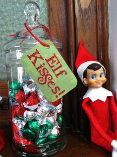 Before there was the Elf on the Shelf these little guys came with a small box of Russel Stouffer Chocolates. Still have ours from the 50s. Elf on the Shelf idea: Elf Kisses
