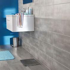 Carrelage sol et mur muretto gris frezza 30 x 60 cm for Carrelage mural salle de bain gris clair
