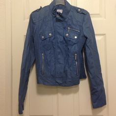 Blue Leather Jacket Perfect condition! Only worn once. Xhilaration Jackets & Coats